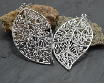 Lightweight Statement Silver Filigree Leaf Earrings - Long Lace Dangle - Statement Jewelry