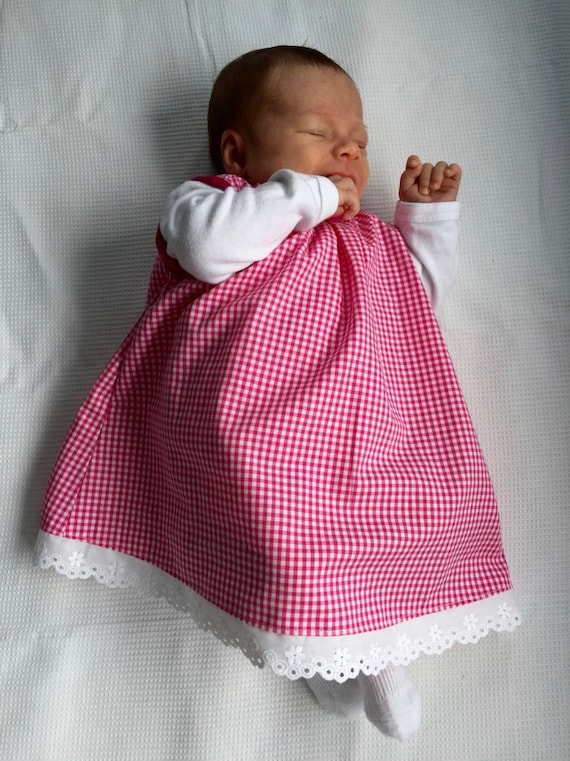 Summer Sale! -20% Pink and white gingham new born baby dress, hand made