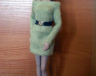 Handmade green knitted dress + leather belt for 1/6 scale doll (Barbie, FR2, etc)