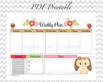 Cute Woodland Animals Weekly Planner Organizer