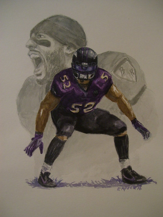 Ray Lewis,Baltimore Ravens,16x20 Original Watercolor Painting,One of a Kind,Not a Print,Free Shipping Code SKYE2