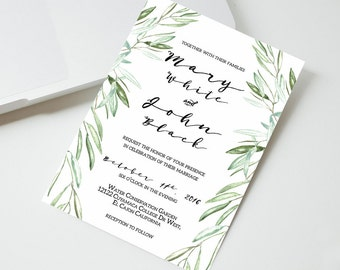 Olive Branches Wedding Invitation, Printable Wedding Invitation, Wedding invitation template, Botanicals, Watercolor