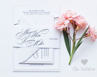 Wedding Invitation., Elegant Invitation. Tradicional Wedding Invitation, White Wedding Invitation (Price for Sample Set)