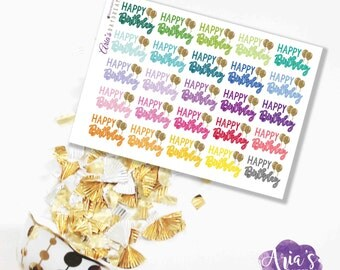 Happy Birthday! - Fun Colorful Words, Glitter Hearts - 25 stickers, 1 sheet - Perfect for use in any planners such as ECLP