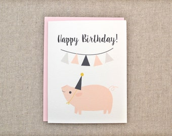 items similar to pig birthday card  birthday pig cute pigpig, Birthday card