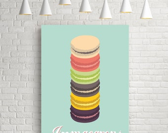 I heart macarons, macaron print, kitchen print, vintage art poster, kitchen wall art, kitchen art print, retro poster, retro art, print