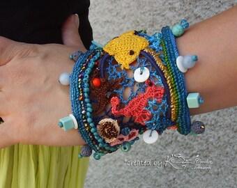 Crochet cuff, Crochet bracelet, Beaded bracelet, Beach style bracelet, Handmade jewelry, Sea bottom bracelet, Colorful bracelet, Unique cuff