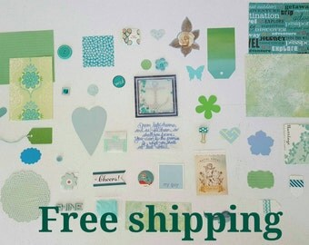 Aqua tones inspiration kit. Junk journal kit. Smash journal kit. Mix media. Scrapbook. Art journal kit. Free shipping.