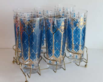 Set of 6 Vintage Mid Century Barware Blue and Gold Tumblers with a Brass Caddy