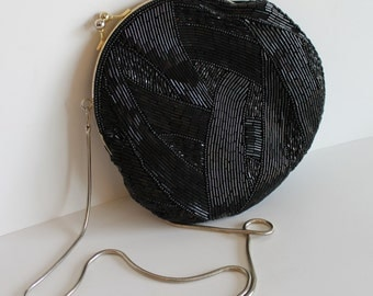 Vintage Black Beaded Gold Tone Handbag Purse Clutch Evening Bag - Free Shipping Within Canada and the USA