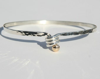 Sterling silver & 14k Spiral Loop Bracelet