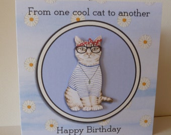 Funny, Quirky, 3d Decoupaged Cat Card which can be personalised