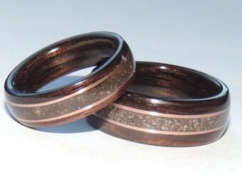 Bentwood Ring Set, Macassar Ebony, Dinosaur Bone & Copper