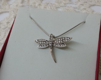 Charm 925 Silver Dragonfly Crystal stones SK962