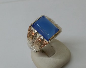 Elegant.925 Silver ring with blue agate SR350