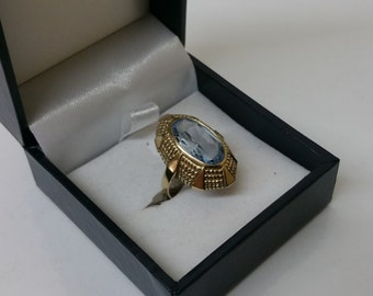 Gold Ring 333 with aquamarine 60s GR165