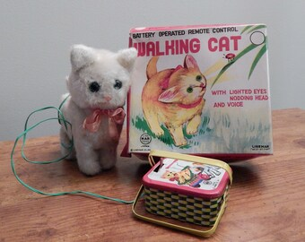 Vintage Linemar Battery Operated Walking Cat (Price Reduced from 30.00 to 15.00)