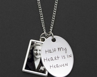 Custom Made With Your Photo Memorial Necklace w/ Half My Heart Is In Heaven Oval Plate Charm Rectangle Photo Charm Double Sided