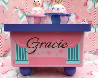 Personalised Wooden Music Box With Dancing Ballerina's