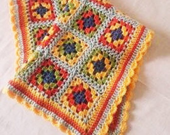 "Crochet Carseat Blanket Granny Square  22""x18"" 45x55cm"