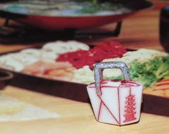 Handcrafted Novelty Chinese Food Take Out Box With Silver Handle Shirt/Hat/Lapel Pin
