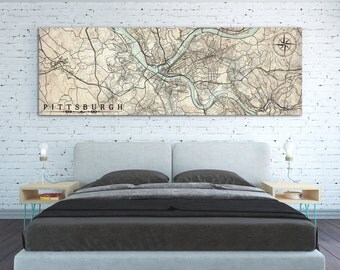 PITTSBURGH PA Canvas Print Pennsylvania Vintage City Map Pittsburgh Pa  Vintage Map Horizontal Large Wall Art