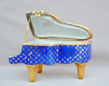 Antique French Limoges Porcelain Romantic Trinket Box - Piano Fragonard Goumot Picture - GL Limoges - Blue Jewelry Box