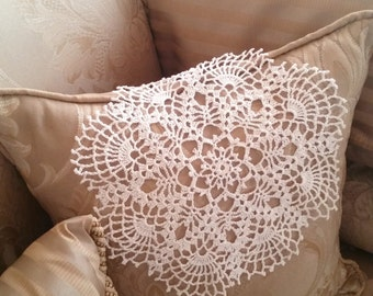 Vintage inspired white crochet doily tablecloth, table center