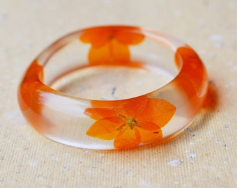 Resin bracelet with orange flowers, Resin with real flowers, Floral jewelry