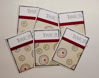 Set of 6-Retro Circles Thank You Card Set