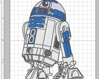 "Star Wars R2-D2 Droid 4"" x 3"" Embroidery Design in PES +4 formats"