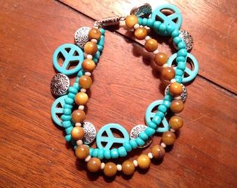 Boho Turquoise Peace 3 Layered Bracelet