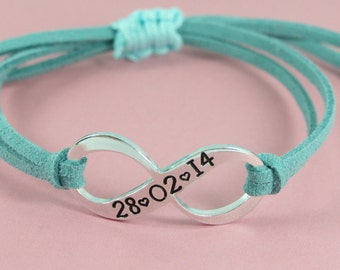 Personalised Eternity Bracelet | Faux Suede | Date | Couples Names | Child's Name | Anniversary | Variety Of Colours | Adjustable |  UK