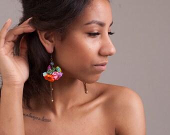 Polymer Clay Flowers/Earrings/Flower earrings/Chandelier Earrings/Dangle&Drop Earrings/Multicolored Earrings/Polymer Clay/Clay Flower Charms