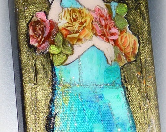 Painting original woman portrait - canvas abstracts Art picture portrait woman painting  acrylic mixed-contemporary art