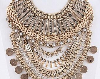 TRIBAL MULTI CHAIN bib necklace