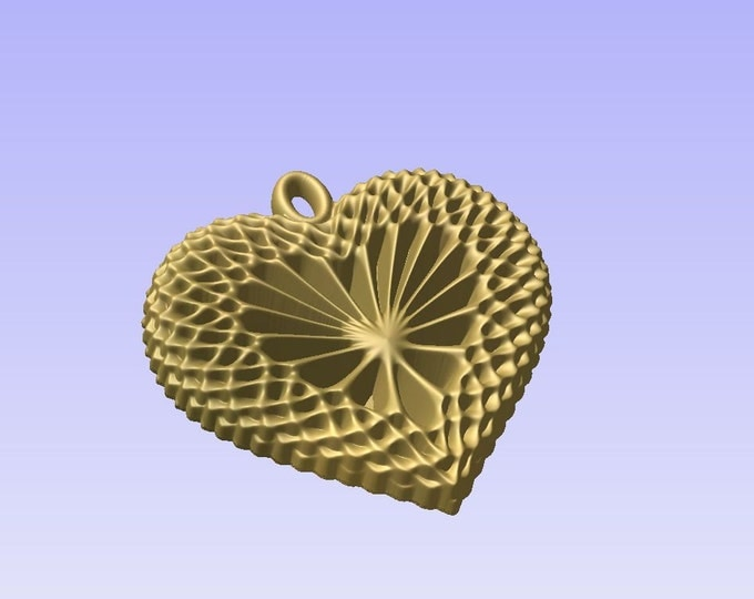 Heart shaped pendant 3D STL model for cnc carving vectric aspire cut3d artcam 3d printer