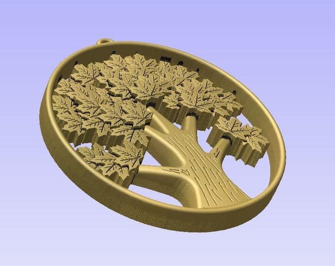 Stl 3d models of TREE PENDANT for cnc carving vectric aspire cut3d artcam 3d printer