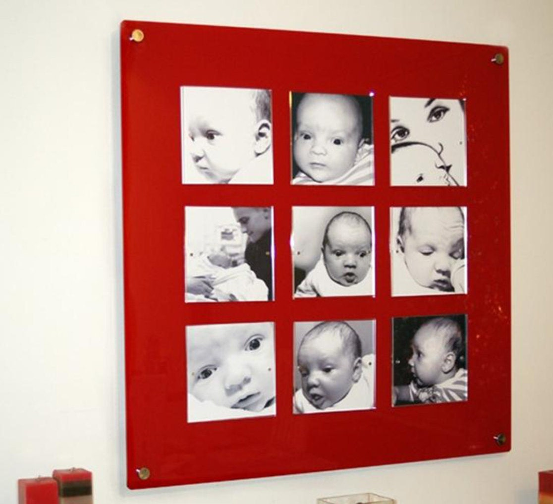 large red acrylic magnetic easy change 285 square multi 9x 6 x 6 picture photo frame high gloss perspex plexiglas - Easy Change Artwork Frames