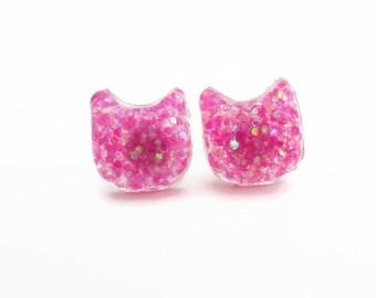 Glitter Cat Earrings - Cat Earrings - Gifts for Cat Lovers - Cat Stud Earrings