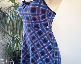 Plaid blues rocker swim dress