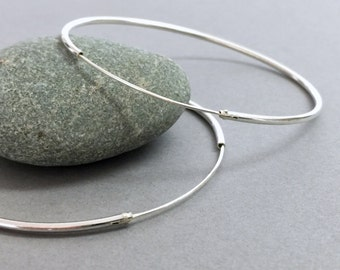 Large sterling silver hoops, Extra large silver hoop earrings, Silver hoops, Bohemian jewelry, Handmade silver modern hoops,