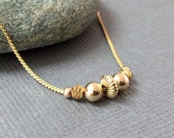 Gold Necklace, Gold Striped Disc Beads Necklace, Dainty Everyday Gold Necklace, Gold Bead Necklace, Gold Jewelry, Bridesmaid Gift