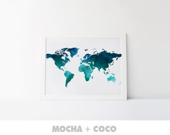 Watercolor World Map Printable Poster | Map prints, Pin board, Travel map, Printable map, Watercolor map, Watercolor print, Nursery map