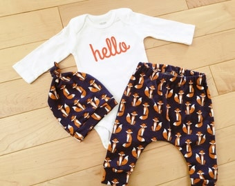 Baby Boy Coming Home Outfit / Navy Foxes / Orange Hello