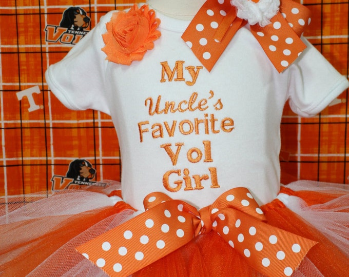 Tennessee Volunteers baby girl outfit, Vols baby girl bodysuit,Uncle, Daddy,orange and white tutu, Tennessee Vols headband, Vols New baby