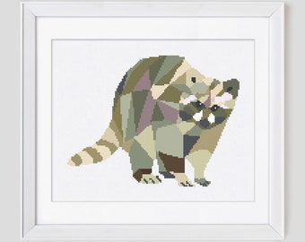 Counted cros stitch pattern, racoon Cross Stitch pattern, racoon counted cross stitch