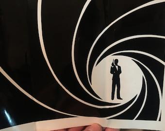 james bond silhouette spiral wide vinyl sticker decal