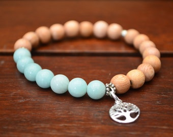 Amazonite and rosewood yoga bracelet with silver tree of life charm