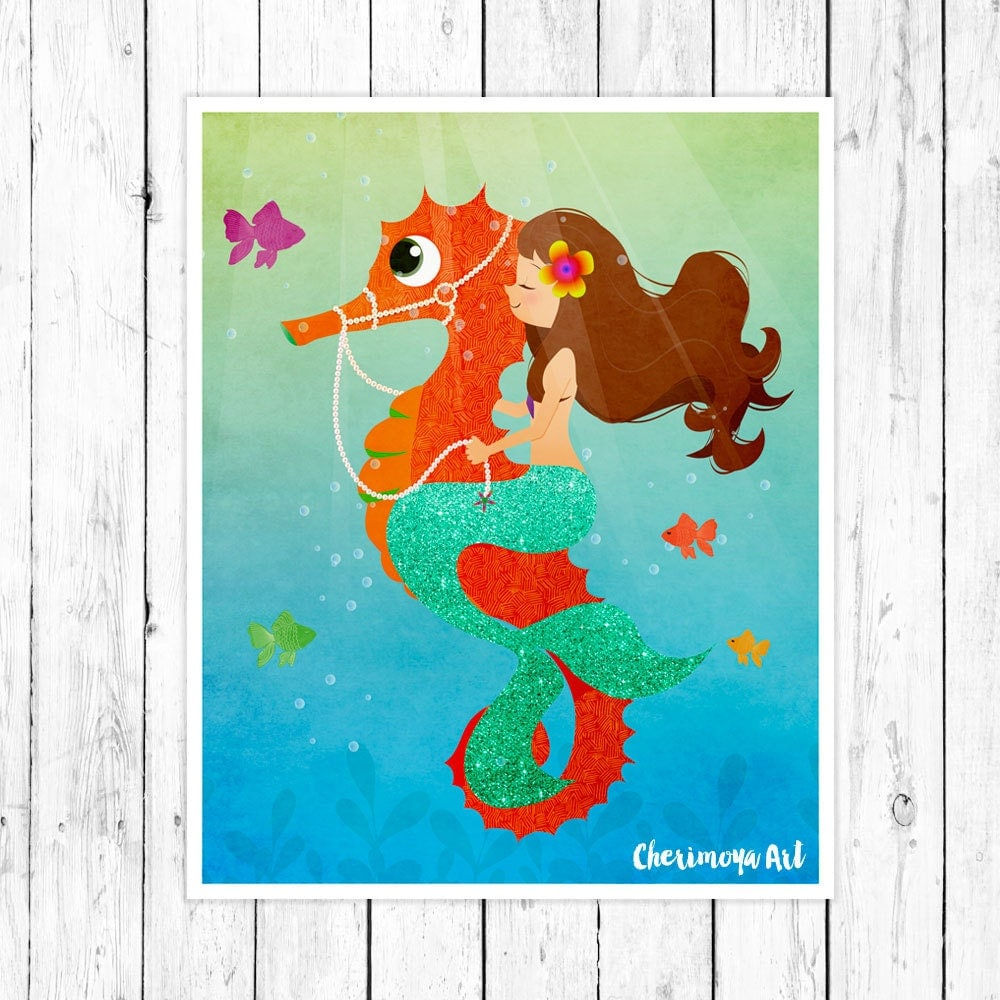 Mermaid Gifts Mermaid Decor Mermaid Art Print Mother S: Mermaid Sea Horse Wall Art Nursery Print Kids Room By